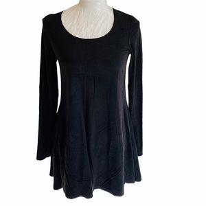 LAUREN VIDAL Dress Charcoal Crashed Velvet Look S